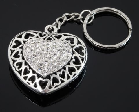 Silver Tone Keyring (M315) - Heart with Rhinestones